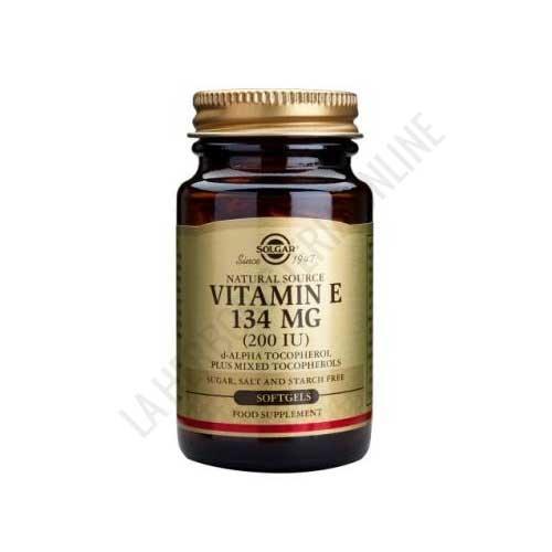 Vitamina E 200 UI (134 mg.) Solgar 100 cápsulas blandas - Vitamina E de Solgar es una fuente natural de vitamina E que aporta 134 mg. por cápsula blanda, un potente antioxidante natural.