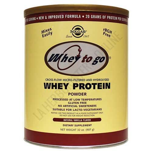 Whey To Go Solgar Proteína de suero en polvo sabor vainilla 907 gr. - La proteína de suero en polvo Whey To Go de Solgar es una formulación científicamente avanzada de proteína con intercambio de iones, micro-filtrado e hidrolizado, L-Glutamina en forma libre y aminoácidos ramificados en forma libre (BCAA).